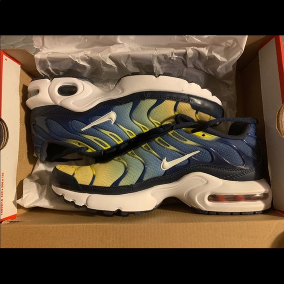 buy online 6d8b3 f6c79 Nike Air Max Plus (Yellow and Navy Blue)